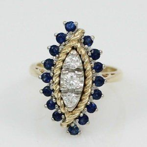 Solid 14K Gold Diamond Sapphire Cocktail Ring